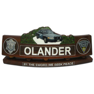 Police Wooden Desk Name Plate