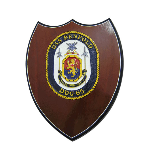 USS Benfold-DDG 65 Seal Shield Shaped Award Plaque