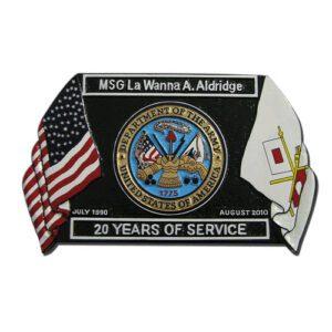 20 Years of Service Black Retirement Plaque