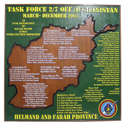 Task Force 2/7 OEF Afghanistan Deployment Plaque