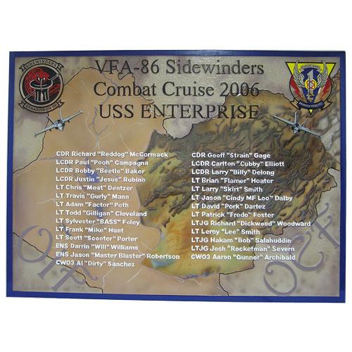 USS ENTERPRISE VFA 86 Deployment Plaque 2006