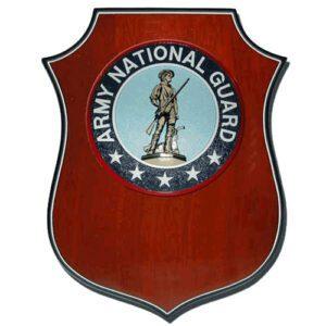 National Guard Shield Shaped Wooden Award Plaque