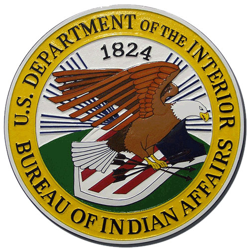 Bureau of Indian Affairs BIA Plaque
