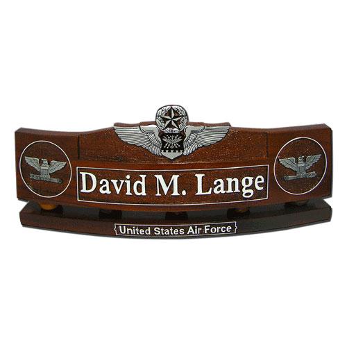 USAF Command Navigator Wings Insignia Desk Name Plate