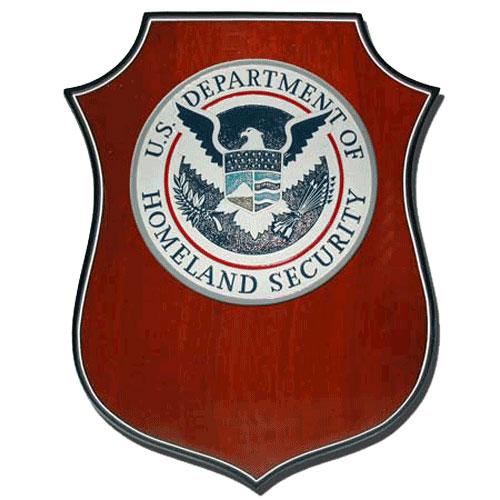 Homeland Security Seal Shield Shaped Award Plaque
