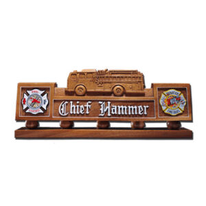Firefighter Wooden Desk Name Plate