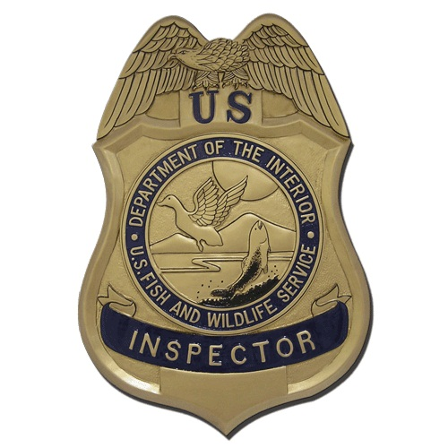 U.S. Fish & Wildlife Service Inspector Badge Plaque