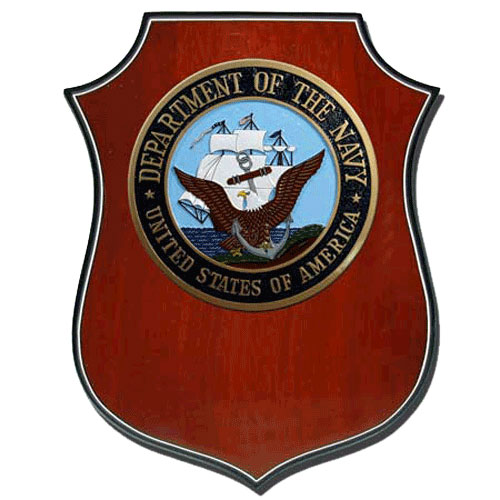 USN Seal Shield Shaped Award Plaque