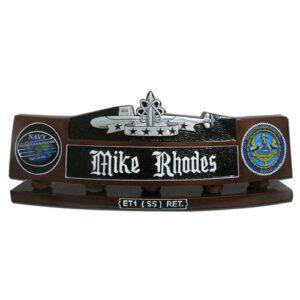 Submarine Patrol Insignia Desk Name Plate