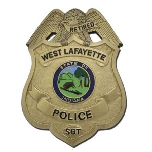 West Lafayette Police Officer Replica Badge Plaque